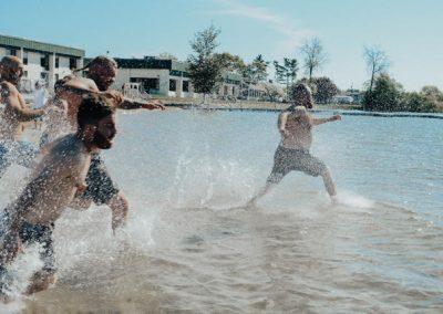 guys running into water